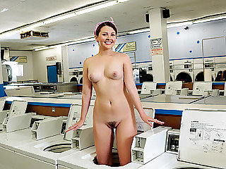 Horny small slut masturbates and gets hard fucked in laundromat shop